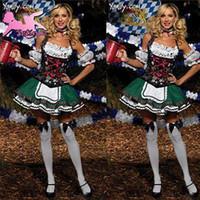 Wholesale women costume Sexy Oktoberfest Grass Green maid uniform Restaurant Working Plus Size Clothes Fancy Dress halloween cosplay FM004