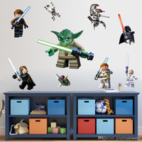 Wholesale LEGO YODA Star War Characters Decal Removable WALL STICKER Kids Room Decor Art