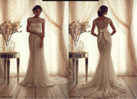 Wholesale 2014 Anna Campbell Lace Bridal Gown Bateau Sheer Neck Illusion Back Bow Elegant Formal Wedding Dress Summer Beach