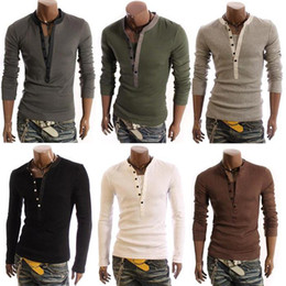 Wholesale High Quality M XL T Shirts for Men Long Sleeves Casual T shirt V Neck False Two Pieces Slim Fashion Cotton Tees Top W63