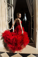 Cheap 2014 Zuhair Murad Fashion A Line Hi Lo Red Evening Dresses Strapless Lace Beaded Bodice Back Lace Up Ruffle Tulle Skirt Hot Sale