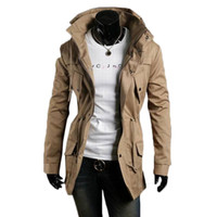 Wholesale S5Q Men Vintage Military Coat Long Slim Trench Jackets Warm Winter Parka Hoodie AAADXK