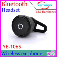 Cheap DHL 5PCS New Arrival Super mini Stereo Bluetooth headset YE-106S Wireless earphone Music&Call for iPhone Samsung HTC LG YX-ER-06