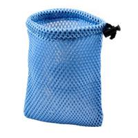 Pocket Holder Nylon  Car Accessory Blue Mesh Nylon Black Drawstring Glasses Money Phone Pouch