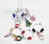 wine glass box - 2014 Fashion Box Handmade Christmas Wine Glass Charms Mixed Table Decorations W Box x25mm x25mm