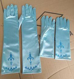 Wholesale Children s Gloves long blue gloves foen elsa finger gloves Fancy elsa elsa costume gloves halloween glove for kids hot sale