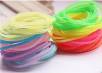Wholesale Rainbow Loom glow Fluorescent colorLuminous color rubber band hair accessories hair ring rabbit ear silicone bracelet