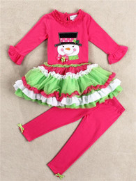 Wholesale New autumn girls Christmas clothing sets Long Sleeve cartoon Santa outfits green ruffles shirt skirt pant Girl set