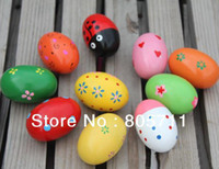 maracas - Cartoon Color Pattern Orff Wooden Maracas Eggs Wood instrument Baby Toddler Toy Educational toys