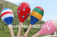 cabasa - Good Quality Cartoon Color Design Wooden Maracas Cabasa Sand Hammer Preschool Baby Educational Toys