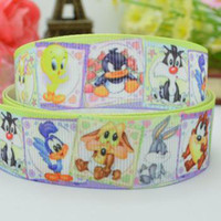 Wholesale 7 mm tweety and sylvester Cartoon character printed Grosgrain Ribbon hairbow party decoration satin ribbons yards