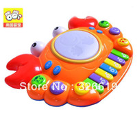 Cheap Free Shipping Toy Piano Unisex Battery Multifunctional orgatron story telling music drum luminous pat child hand drum toy piano