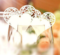 Wedding wedding place card holders - 120pcs Romantic Heart Pattern Paper Wine Glass Card Wedding Banquet Table Place Card Guest Name Number Holder wd168