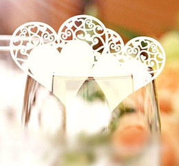 Wholesale 120pcs Romantic Heart Pattern Paper Wine Glass Card Wedding Banquet Table Place Card Guest Name Number Holder wd168