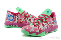 Wholesale Top Famous Player Swingman Aunt Pearl Black Pink Rose Flower Kevin Durant KD VI Basketball Shoes Mens Athletic Shoes Durable Footwear