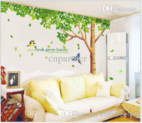 Wholesale 2015 Green Tree Wall Stickers Fresh Green Leaves Wall Decal Large Tree Wall Paper for Bedroom Living Room Wallpaper