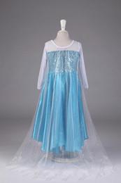 Wholesale Low Price Blue Dresses Frozen Princess Elsa Dresses with White Lace Wape Movie Cosplay Summer Dress Girls Kids Dresses Costume