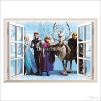 Wholesale 45 cm Frozen Cartoon Wall Stickers Christmas Decorations D Removable Wall Decals Kid s Room Wall Art Stickers Home Decoration Wallpaper