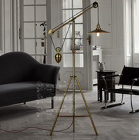 Wholesale American Metal Decoration RH Loft industrial wind pulley genuine special tripod floor lamp e27