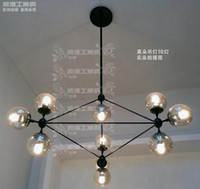 Wholesale Modern industrial wind art clubhouse living room Pendant Lamps Decorative glass balls heavy metal Mo Duote price chandelier