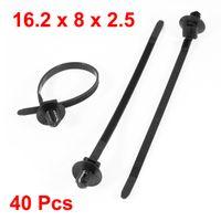 adjustable zip ties - 40 Adjustable Black Nylon Toothed Auto Push Mount Cable Zip Tie mm Long