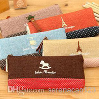 Wholesale Portable Pen Bags Canvas Pencil Case Storage Bag Cosmetic Wave Point Stationery