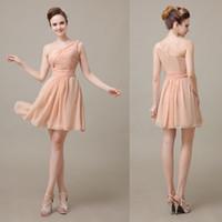 Wholesale One Shoulder Cute Chiffon Peach Short Bridesmaid Dresses Mini Length Junior Pleated Cheap Bridesmaid Dresses PD15339