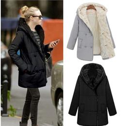 Wholesale Promotion Fashion Women Thick Faux Fur Hooded Down Parka Super Warm Winter Coat Medium Long Overcoat Jackets Grey Black G0715
