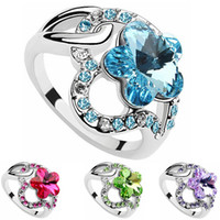 Wholesale Fashion Brand Wedding Rings For Women Austria Crystal Platinum Plated Flowers Ring Made With Swarovski Elements Charm Designer Jewelry