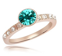 Wholesale High Quality Rose Gold Plated Rings for Women Wedding Engagement Fashion Branded Blue Crystal Rings