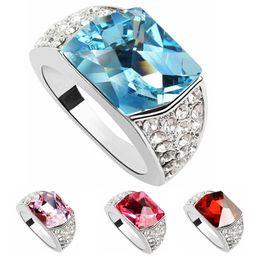 Korean Fashion Bridal Wedding EngagEment Rings Austria Crystal Platinum Plated Ring For Women Made With Swarovski Elements 316