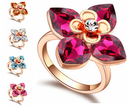 Austrian Crystal 18k Rose Gold Plated Flowers Rings For Women Wedding Red Rhinestone Crystal Rings Made With Swarovski Elements 16958