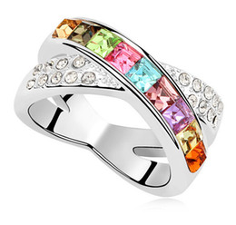 Austria Crystal Platinum Plated Ring For Women Made With Swarovski Elements Charm Designer Jewelry Wedding Engagement Ring 9049