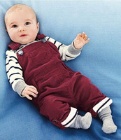 Boys baby clothes Striped long-sleeved T shirt + denim overalls sets