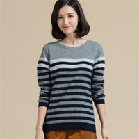 cashmere sweater - Pure Cashmere Sweater of Women s Horizontal Stripes Autumn Winter Style Fashion High Quality Cashmere Sweater Exempt Postage HL011