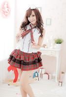 Wholesale sexy japanese sexy school girl photo Adult girl red plaid teacher uniform