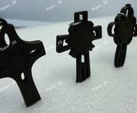 wooden cross necklace - 50pcs Fashion New MULTI JESUS DESIGNS WOODEN CROSS WITH IRON HANGER pendant LR414