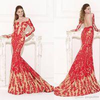 Wholesale Modest Tarik Ediz Long Sleeve Sheer Off Shoulder Mermaid Formal Evening Dresses Red Lace Appliques Backless Celebrity Party Prom Gowns
