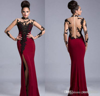 Wholesale 2014 Sheer Long Sleeve High Neck Appliqued Black and Red Jersey Janique Mermaid Formal Evening Dresses Sexy Side Slit Prom Dresses