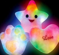 Wholesale Freeshipping colorful LED light pillow lucky heart star shaped glow pillow best gift for valentine