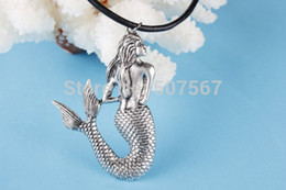 Wholesale Antiqued silver mermaid necklace little mermaid sea maid necklace mermaid pendant necklace with black leather cord