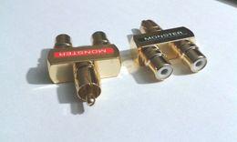 Wholesale 4pcs Copper Male to Female Video Audio Y Splitter RCA Adapter Plug
