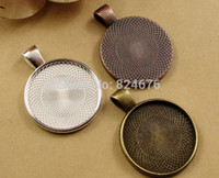 Wholesale DIY Antiqued Bronze Silver Golden Vintage Alloy Round Cameo Cabochon Base setting Pendant Tray mm Jewelry Blanks
