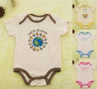 Wholesale Organic Cotton baby rompers Branded SAFE GREEN SOFT newborn Toddler short sleeve underwear boys girls stock