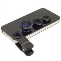 Cheap 3 In 1 Universal Clip camera Mobile Phone Lens fisheye Fish Eye + Macro + Wide Angle for iphone 4 4s 5s 5 6 Samsung S4 S5 note2