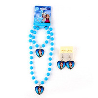 bead pendant light - New Hot Frozen Elsa Anna Princess Pendant Pearl Crystal Beads Necklace Bracelet Earrings Cartoon Sets Kids Children Holiday Gift