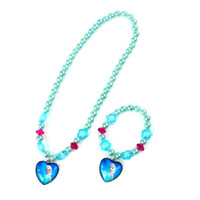 Wholesale New Jewelry Hot Frozen Elsa Anna Princess Pearl Beads Necklace Bracelet Cartoon Sets Kids Children Holiday Gift