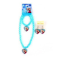 Wholesale Hot Frozen Elsa Anna Princess Candy Color Acrylic Beads Necklace Bracelet Earrings Cartoon Sets Kids Children Holiday Gift Factory Price