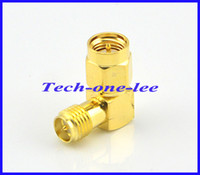 Wholesale 20pcs SMA Plug male Pin to RP SMA Jack male Pin Right angle coax Connector SMA RA Golaplated Adapter