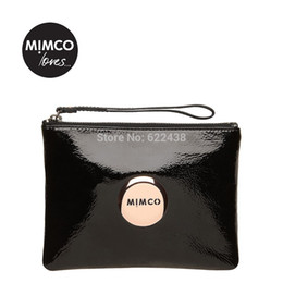 Wholesale WITH SMALL DEFECT Mimco Medium Lovely pouch Black Rose Gold mimco lovers style top quality wallet